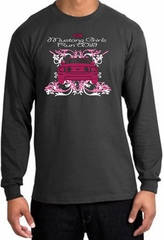 Ford Mustang Long Sleeve Shirt - Girls Run Wild Adult Charcoal T-Shirt