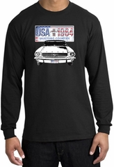 Ford Mustang Long Sleeve Shirt - USA 1964 Country Adult Black T-Shirt