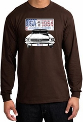Ford Mustang Long Sleeve Shirt - USA 1964 Country Adult Brown T-Shirt