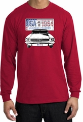 Ford Mustang Long Sleeve Shirt - USA 1964 Country Adult Red T-Shirt
