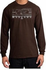 Ford Mustang Long Sleeve T-Shirt Legend Honeycomb Grille Brown Shirt