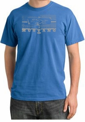 Ford Mustang Pigment Dyed Shirt Honeycomb Grille Medium Blue Tee