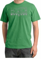 Ford Mustang Pigment Dyed T-Shirt Honeycomb Grille Piper Green Tee