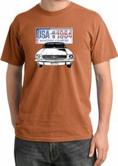 Ford Mustang Pigment Dyed T-Shirt USA 1964 Country Burnt Orange Shirt