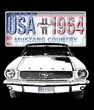 Ford Mustang Pigment Dyed T-Shirt USA 1964 Country Medium Blue Shirt