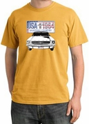 Ford Mustang Pigment Dyed T-Shirts - USA 1964 Country Adult Tee Shirts
