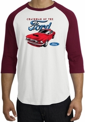 Ford Mustang Raglan Shirt - Chairman Of The Ford Adult White/Cardinal