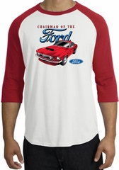 Ford Mustang Raglan Shirt - Chairman Of The Ford Adult White/Red