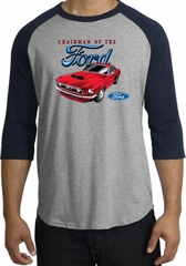 Ford Mustang Raglan Shirt - Chairman Of The Ford Heather Grey/Navy
