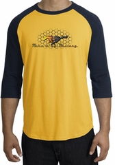 Ford Mustang Raglan Shirt - Make It My Mustang Grill Gold/Navy Tee