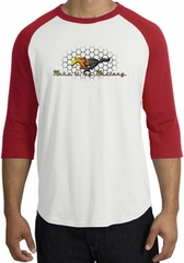 Ford Mustang Raglan Shirt - Make It My Mustang Grill White/Red Tee