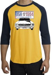 Ford Mustang Raglan Shirt - USA 1964 Country Adult Gold/Navy T-Shirt