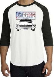 Ford Mustang Raglan Shirt - USA 1964 Country Adult White/Black T-Shirt
