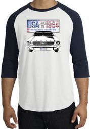 Ford Mustang Raglan Shirt - USA 1964 Country Adult White/Navy T-Shirt