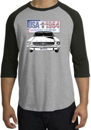 Ford Mustang Raglan Shirt USA 1964 Country Heather Grey/Black T-Shirt