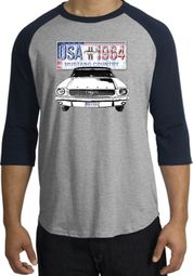 Ford Mustang Raglan Shirt USA 1964 Country Heather Grey/Navy T-Shirt