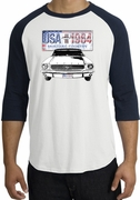 Ford Mustang Raglan Shirts - USA 1964 Country Adult T-Shirts