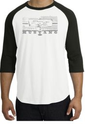 Ford Mustang Raglan T-shirts Legend Honeycomb Grille Adult Shirts