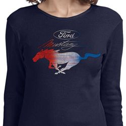 Ford Mustang Red White and Blue Ladies Shirts