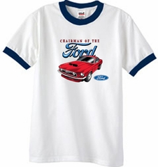 Ford Mustang Ringer T-Shirt - Chairman Of The Ford Adult White/Navy
