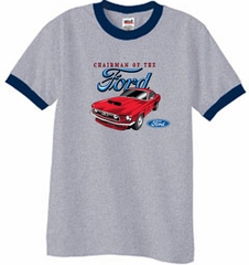 Ford Mustang Ringer T-Shirt - Chairman Of The Ford Heather Grey/Navy