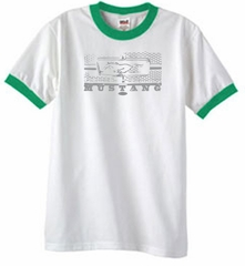 Ford Mustang Ringer T-Shirt Honeycomb Grille White/Kelly Green Shirt