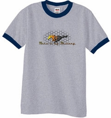 Ford Mustang Ringer T-shirt - Make It My Grill Heather Grey/Navy Tee