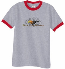 Ford Mustang Ringer T-shirt - Make It My Grill Heather Grey/Red Tee