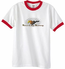 Ford Mustang Ringer T-shirt - Make It My Mustang Grill White/Red Tee