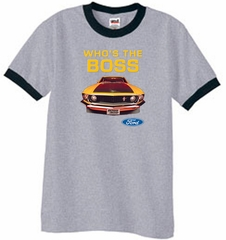 Ford Mustang Ringer T-Shirt - Who's The Boss 302 Heather Grey/Black
