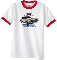 Ford Mustang Ringer T-Shirts - Horsepower Adult Tee Shirts