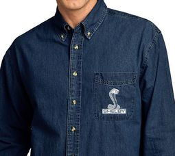 Mens Ford Mustang Shelby Cobra Denim Shirt - Ink Blue