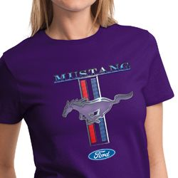 Ford Mustang Shirt Stripe Ladies Tee T-Shirt