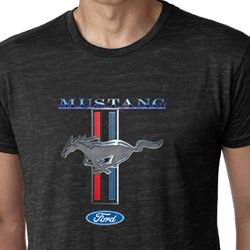 Ford Mustang Shirt Stripe Mens Burnout Tee T-Shirt