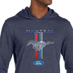 Ford Mustang Shirt Stripe Mens Lightweight Hoodie Tee T-Shirt