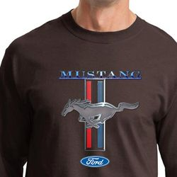 Ford Mustang Shirt Stripe Mens Long Sleeve Tee T-Shirt