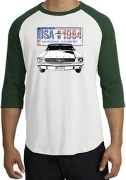 Ford Mustang Shirt USA 1964 Country Raglan Shirt White/Forest