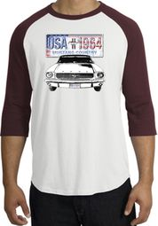 Ford Mustang Shirt USA 1964 Country Raglan Shirt White/Maroon