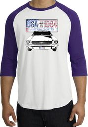 Ford Mustang Shirt USA 1964 Country Raglan Shirt White/Purple