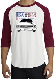 Ford Mustang Shirt USA 1964 Country Raglan Tee White/Cardinal