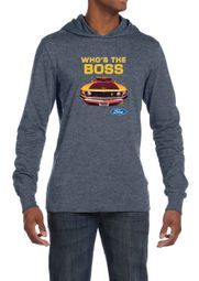 Ford Mustang Shirt Who's The Boss 302 Mens Lightweight Hoodie Tee