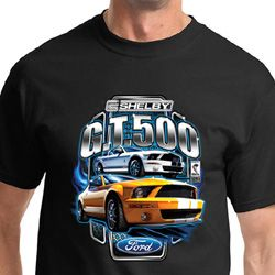Ford Mustang Shirt Yellow and White GT 500 Tee T-shirt