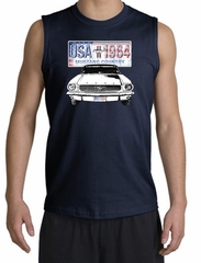 Ford Mustang Shooter Shirt - USA 1964 Country Adult Navy Muscle Shirt