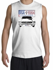 Ford Mustang Shooter Shirt - USA 1964 Country Adult White Muscle Shirt