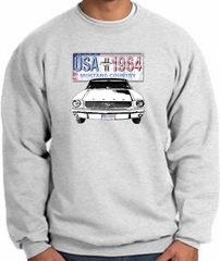 Ford Mustang Sweatshirt - USA 1964 Country Adult Ash Sweat Shirt