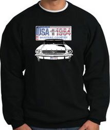 Ford Mustang Sweatshirt - USA 1964 Country Adult Black Sweat Shirt