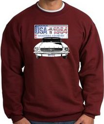 Ford Mustang Sweatshirt - USA 1964 Country Adult Maroon Sweat Shirt