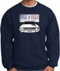 Ford Mustang Sweatshirt - USA 1964 Country Adult Navy Sweat Shirt