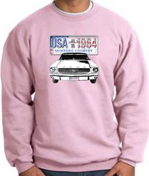 Ford Mustang Sweatshirt - USA 1964 Country Adult Pink Sweat Shirt
