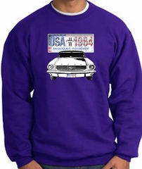 Ford Mustang Sweatshirt - USA 1964 Country Adult Purple Sweat Shirt